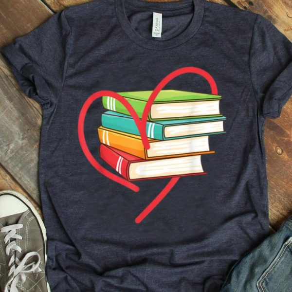 I Love Reading Heart Love Books Gift Library Bookworm shirt