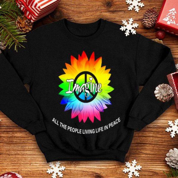 Imagine Flower Lgbt Rainbow Flag People Live Peace Hippie Premium shirt