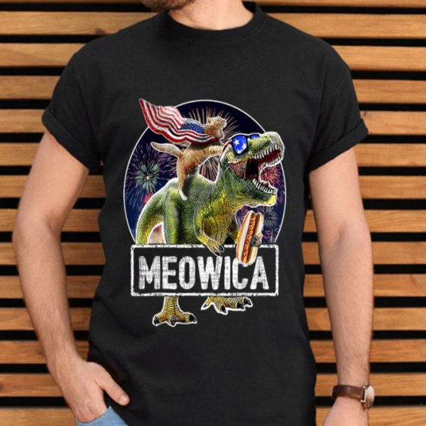 Meowica American Flag Cat T Rex Dinosaur 4th Of July shirt