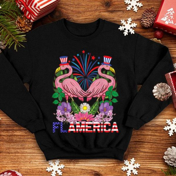 Merica American Flamingos Uncle Sam 4th Of July shirt