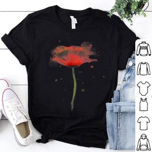 Red Poppy Flower Watercolor Abstract Painting Art shirt