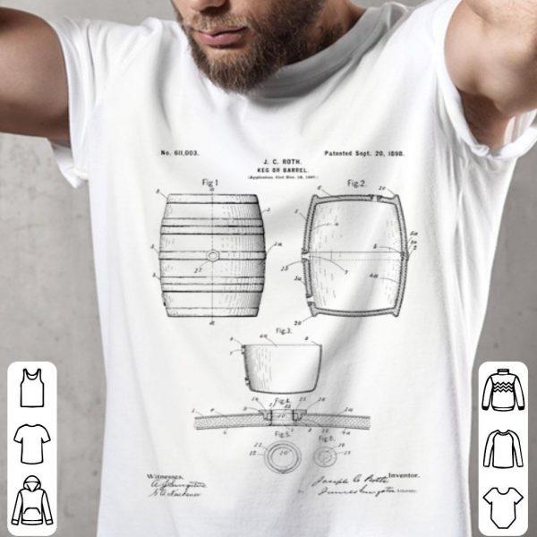 Vintage 1898 Craft Beer Barrel Patent Print shirt