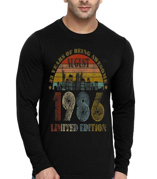 August 1986 33 Years Old 33rd Birthday Decorations shirt