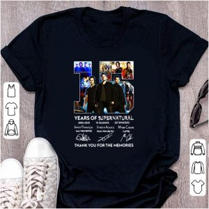 Awesome 15 Years Of Supernatural Thank For The Memories Signature shirt