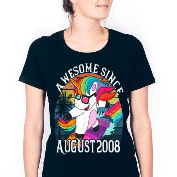 Awesome Born August 2008 Unicorn Surfing Girlss shirt