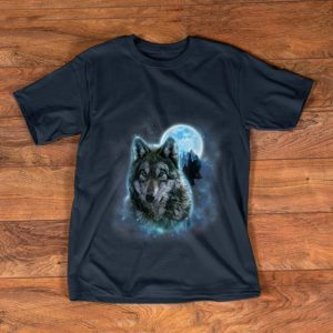 Awesome Grey Wolf Hunting Ground Icy Moon Forest Galaxy shirt