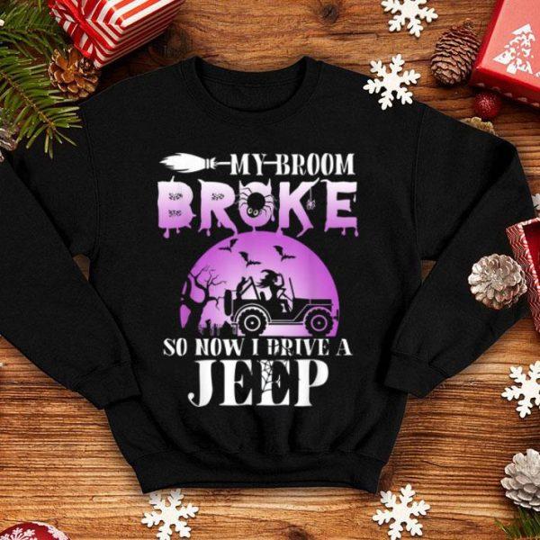 Beautiful Halloween My Broom Broke So Now I Drive A Jeep Pumpkin Gift shirt