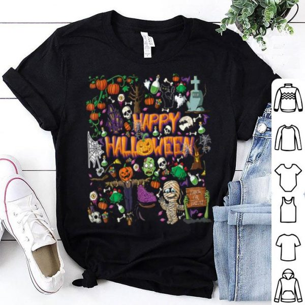 Beautiful Happy Halloween Scary Retro Funny Costume Men Women Kids shirt