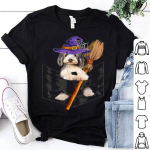 Hot Pocket Bearded Collie Dog In Witch Halloween Gift B07wjz shirt