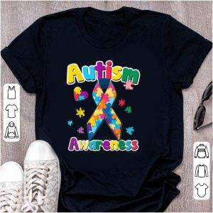 Hot Ribbon Puzzle Pieces Colors Autism Awareness shirt