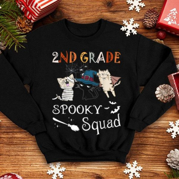 Official 2nd Grade Spooky Squad Funny Halloween Gift For Cat Lover shirt