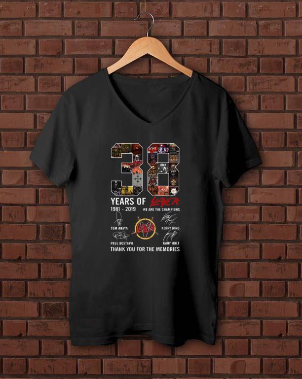 Premium 38 Years Of Slayer 1981 2019 signature shirt 1 - Premium 38 Years Of Slayer 1981-2019 signature shirt