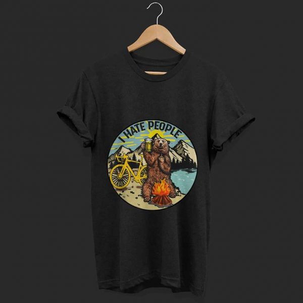 Premium I Hate People Cyling Bear Drinking Beer Camping Fire shirt