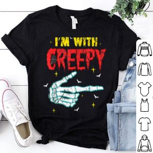 Top Funny I'm With Creepy Couples Halloween Costume Skeleton shirt