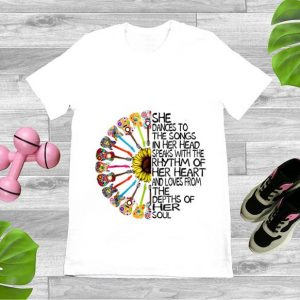 Top She Dance To The Song In Her Head Speaks With The Rhythm Of Heart Heart Guitar Hippie Sunflower shirt