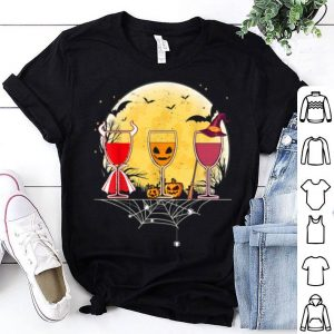 Funny Funny Retro Sunset Wine Glass Of Witchcraft Halloween shirt