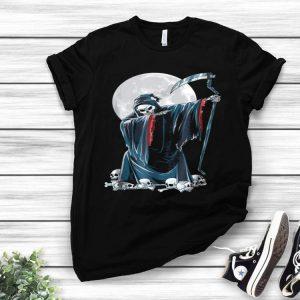 Grim Reaper Skeleton Dabbing Kids Halloween Death shirt