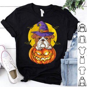 Official English Bulldog Witch Pumpkin Halloween Kids Women shirt