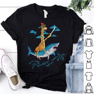 Original Giraffe Pirate Riding Shark Sword Cute Animal Halloween Gift shirt