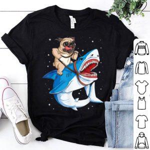 Premium Pugs Riding Shark Halloween Funny shirt