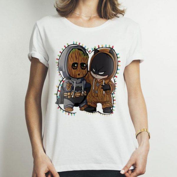 Baby Groot And Batman Christmas Lights shirt