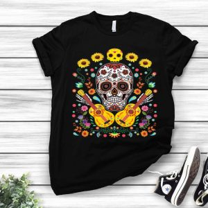 Flower Guitar Sugar Skull The Day Of The Dead shirt