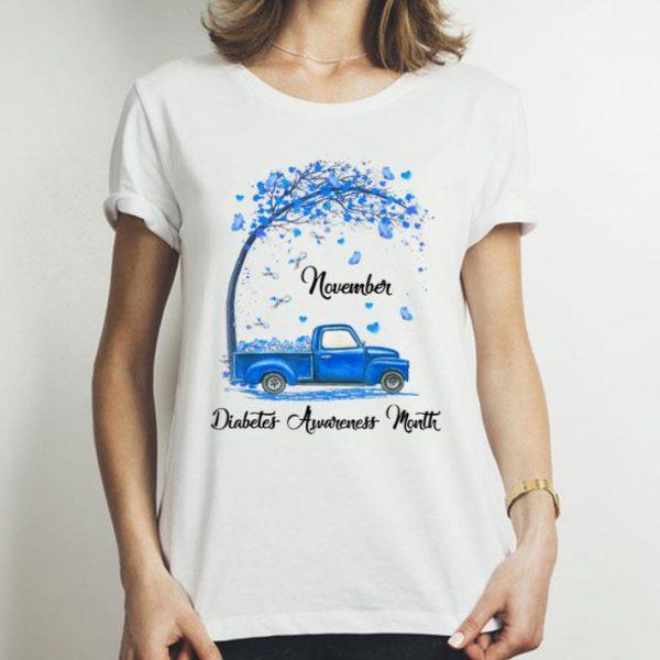 November We Wear Blue Butterfly Truck Diabetes Awareness shirt