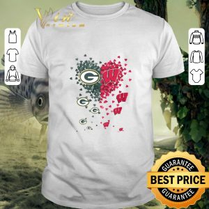 Official Love Green Bay Packers Wisconsin Badgers Tiny Hearts Shape shirt