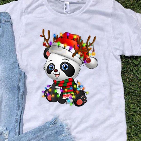 Panda Christmas Reindeer Christmas Lights shirt