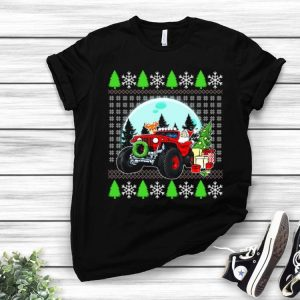 Santa Reindeer Riding Jeeps Ugly Christmas shirt
