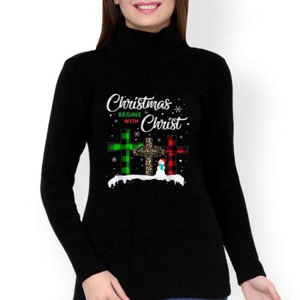 Snowman And Christian Cross Christmas Begins With Christ shirt