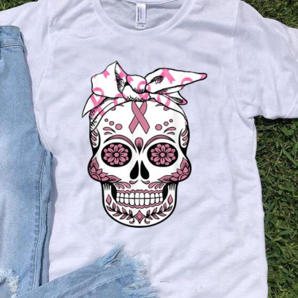 Sugar Skull Pink Ribbon Day Of The Dead Breast Cancer Awareness shirt