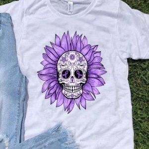 Sugar Skull Sunflower Purple Ribbon Epilepsy Awareness shirt
