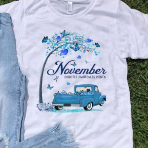Tree Truck November Diabetes Month Butterfly Blue Ribbon shirt