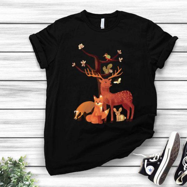 Woodland Animals Deer Fox Rabbit Squirrel Watercolor Autumn shirt