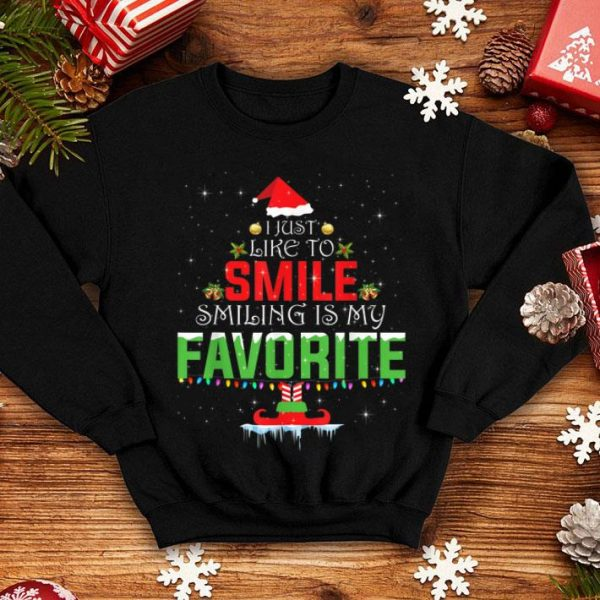Awesome I Just Like to Smile Smiling is my Favorite X-mas Elf shirt