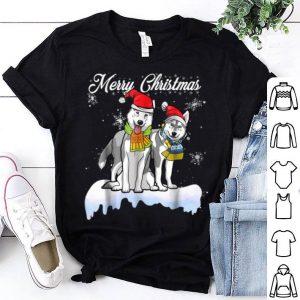 Awesome Merry Christmas Santa Siberian Husky Dog Christmas shirt