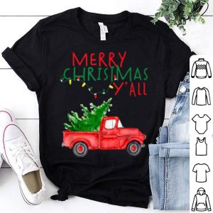 Awesome Merry Christmas Y'all Watercolor Red Truck Farm Fresh Tree shirt