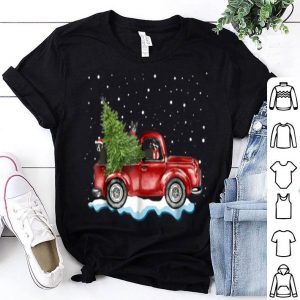 Beautiful Boston Terrier Dogs Ride Red Truck Christmas Gifts shirt