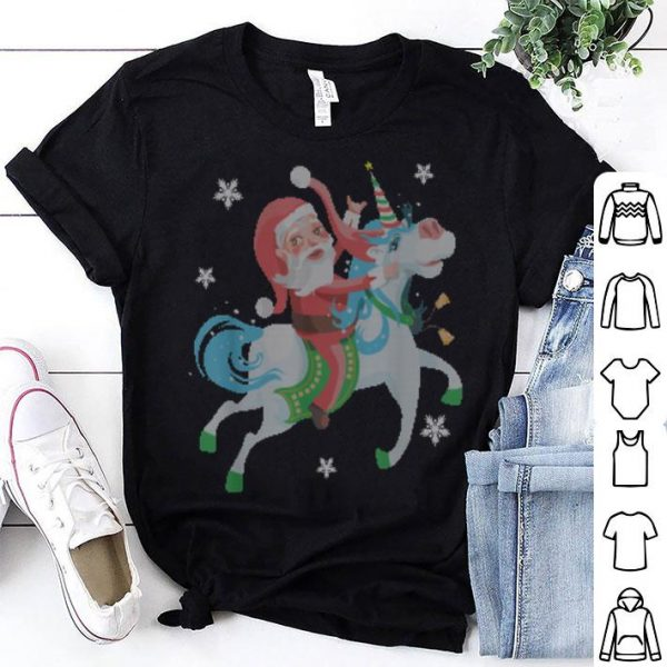 Beautiful Funny Christmas Gift Santa Riding Unicorn Funny Christmas shirt