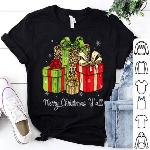 Beautiful Merry Christmas Y'all Leopard Print Christmas Gift Box Xmas shirt