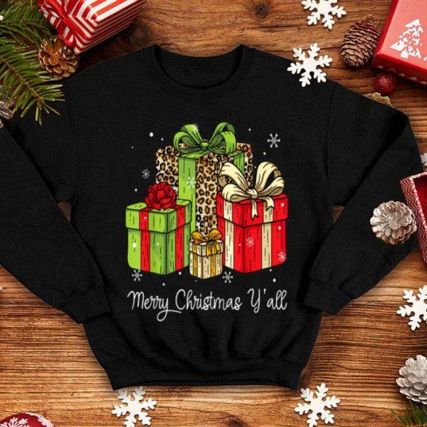 Beautiful Merry Christmas Y'all Leopard Print Christmas Gift Box Xmas shirt