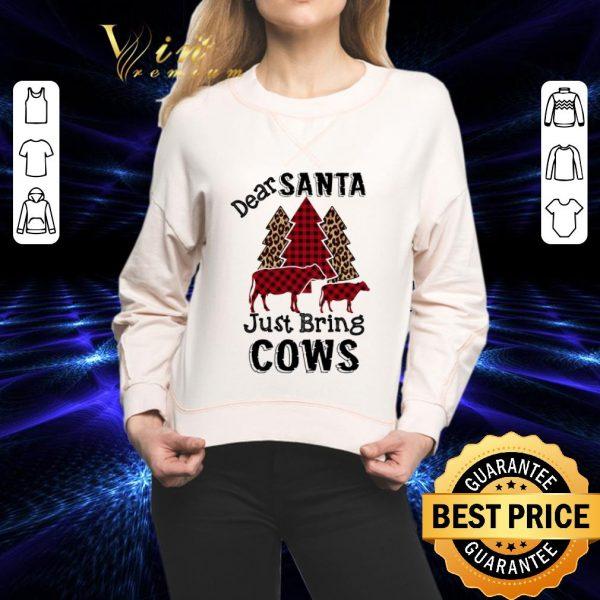 Cheap Dear santa just bring cows leopard Christmas shirt