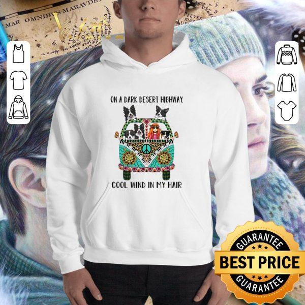 Cheap Hippie bus Border Collie on a dark desert highway cool wind shirt