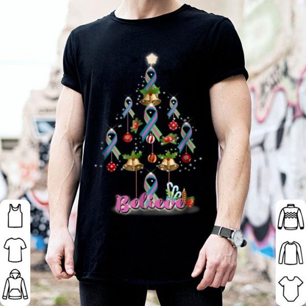 Hot Christmas tree metastatic breast cancer gift warrior shirt