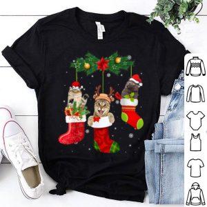 Nice Three Cat In Sock Gift Christmas Pajama Santa Hat Xmas shirt