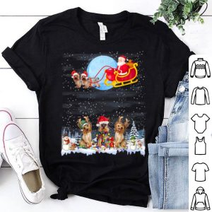 Official Yorkie Reindeer Christmas Lights Dog Riding a Santa Gifts shirt