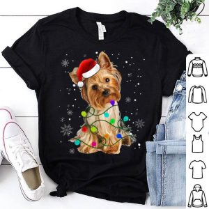 Official Yorkshire Terrier Dog Light Christmas Matching Family shirt