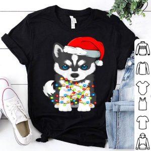 Original Siberian Husky Christmas Tee Santa Hat Xmas Lights Boys shirt