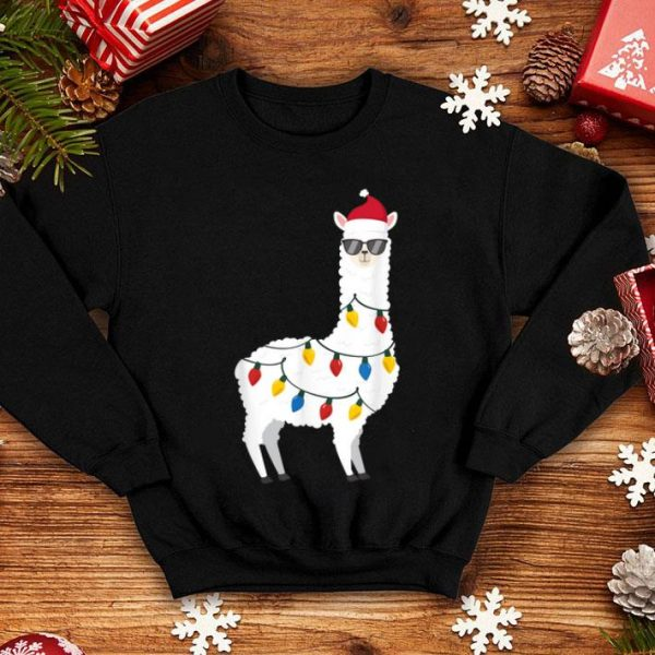 Premium Christmas Llama Santa Hat Sunglasses Alpaca Funny Christmas shirt